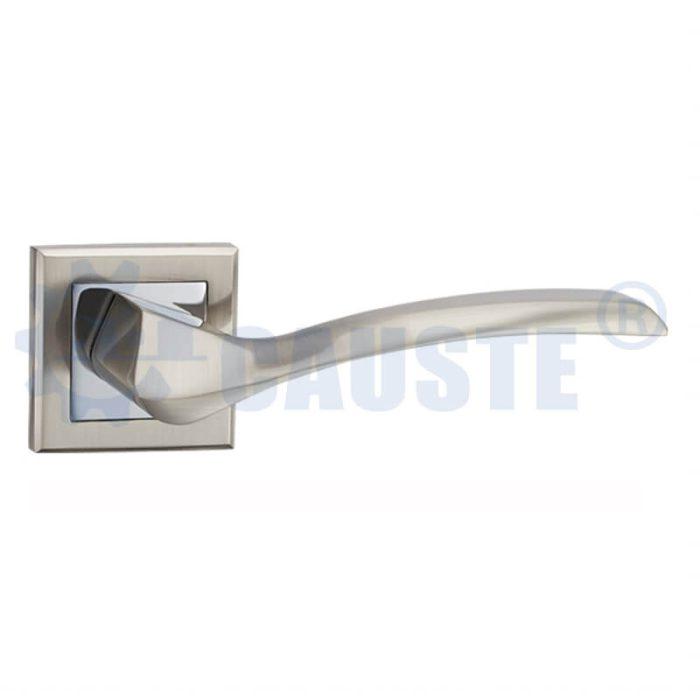 Satin Nickel Zinc Door Handle on Square Rose