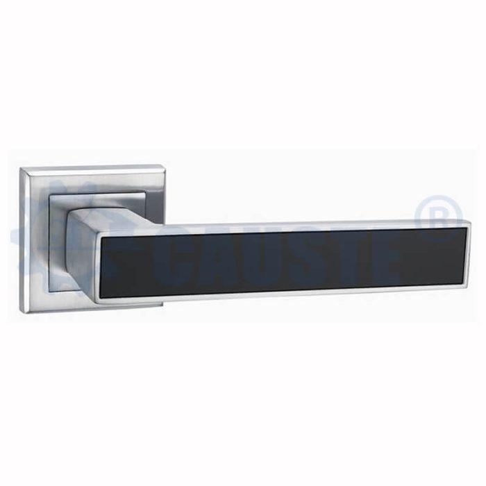 Square rosette leather interior door handles zinc lever on zinc rose