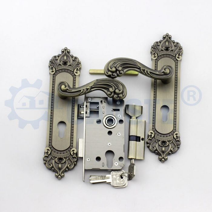european style double pull antique brass classic zinc alloy door handle lock