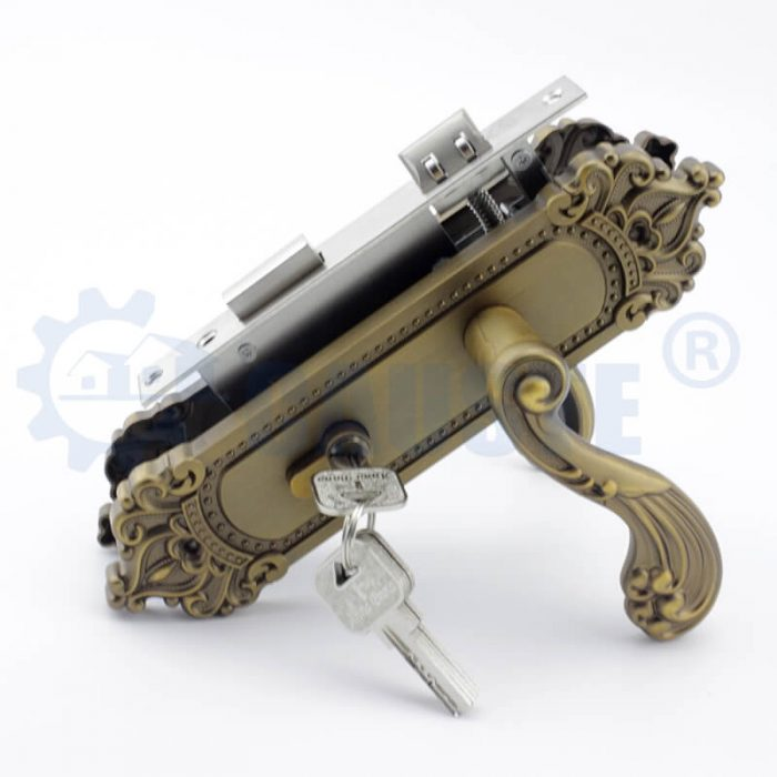 european style single pull red copper antique classic self locking sliding zinc alloy door lock handle