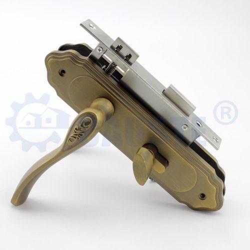 Antique zinc alloy handle on plate antique brass handles door pull handle for wood door