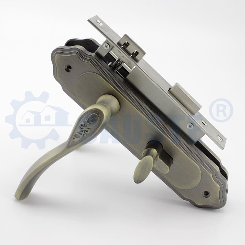 Antique Brass finish door plate handle door handle lock set door locks