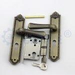 Dubai middle east gold big door lever handle with plate door handle wenzhou
