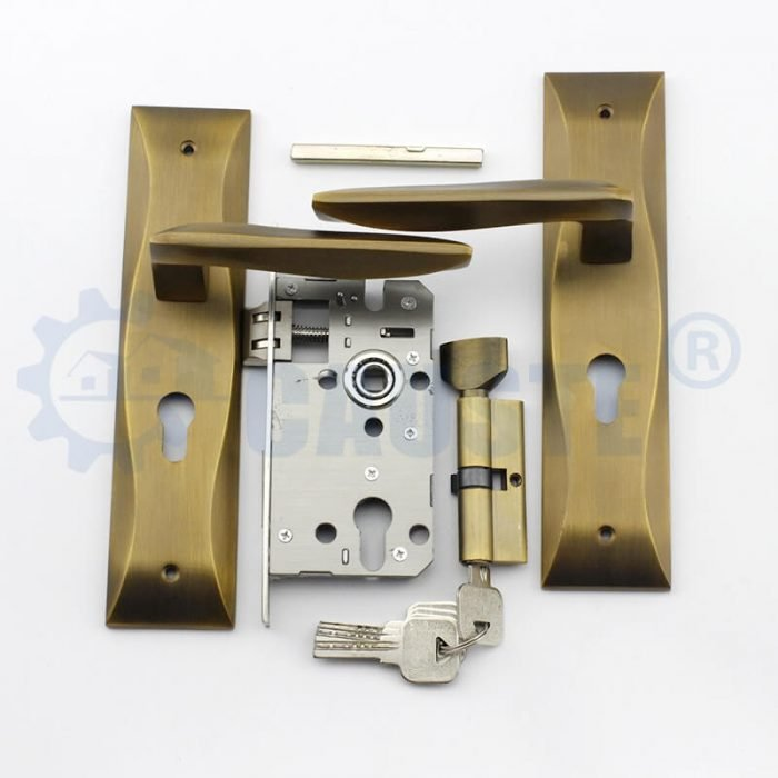 china modern cylinder hole zinc alloy door handle on plate