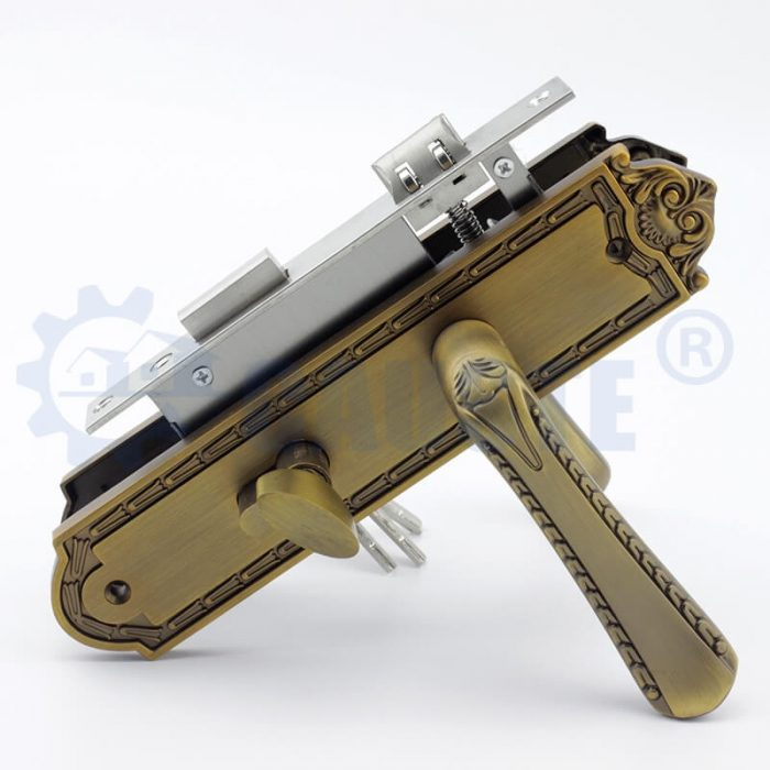 zamak mortise plate industrial door lever dual finish handle on plate
