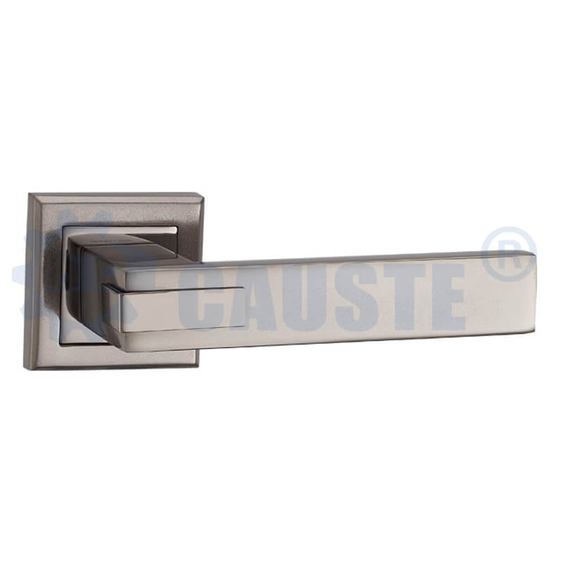 Modern Style Zinc Door Lever Handle On Rosette Lock
