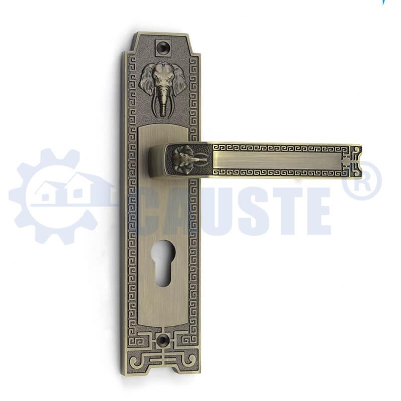 Matt Antique Brass Zinc Alloy Mortice Door Plate Handle Door Lock