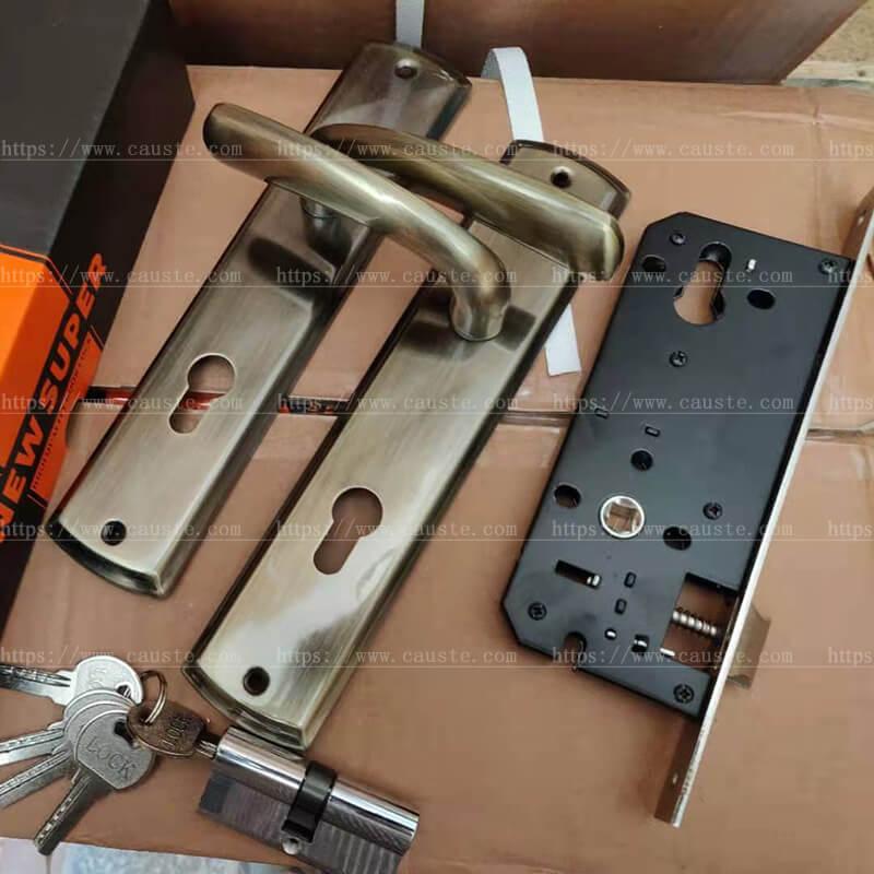 iron panel aluminum handle door locks