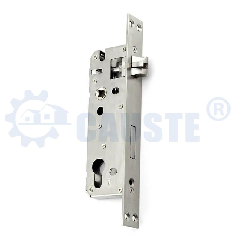 Wide faceplate stainless steel door lock body fancy aluminum door lock machine lockcase