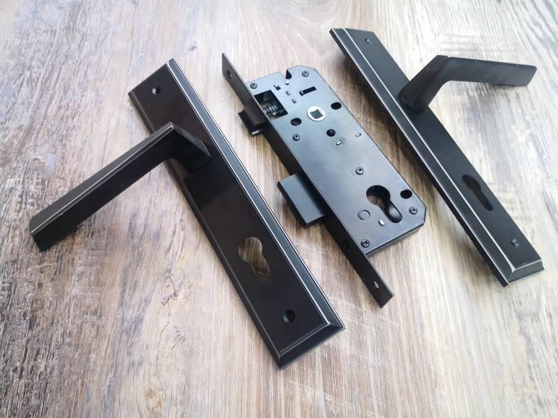 black door lock handle